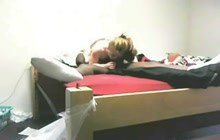 Horny blonde chick sucks and rides black boyfriend in bed