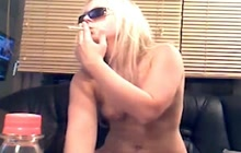 Blonde chick with small tits smoking while riding cock