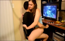 Teen riding cock while boyfriend plays DOTA